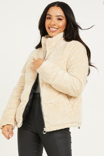 Cream Faux Fur Padded Jacket